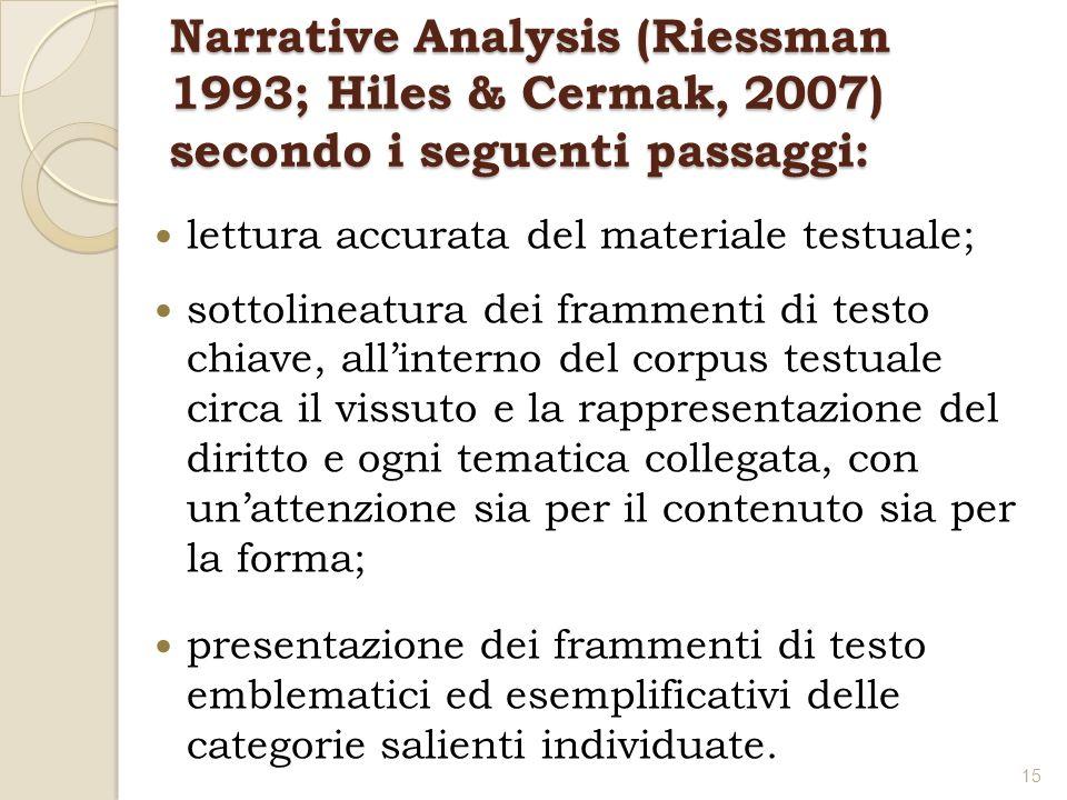 Narrative Analysis (Riessman 1993; Hiles & Cermak, 2007) secondo i seguenti passaggi: