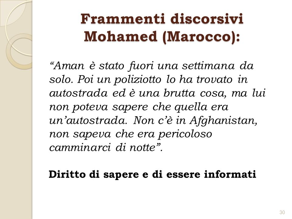 Frammenti discorsivi Mohamed (Marocco):