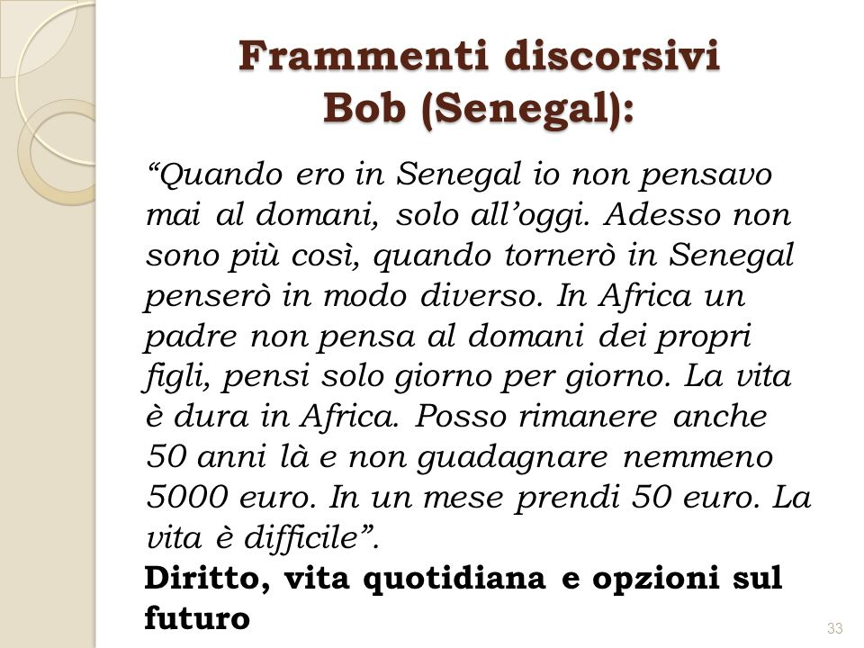 Frammenti discorsivi Bob (Senegal):