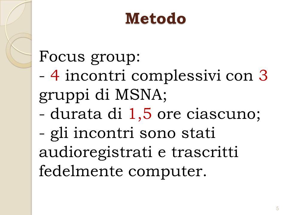 Metodo Focus group: - 4 incontri complessivi con 3 gruppi di MSNA; durata di 1,5 ore ciascuno;