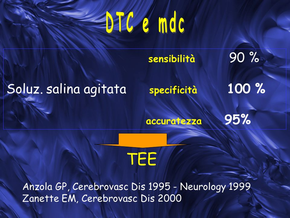 TEE DTC e mdc Soluz. salina agitata specificità 100 % accuratezza 95%
