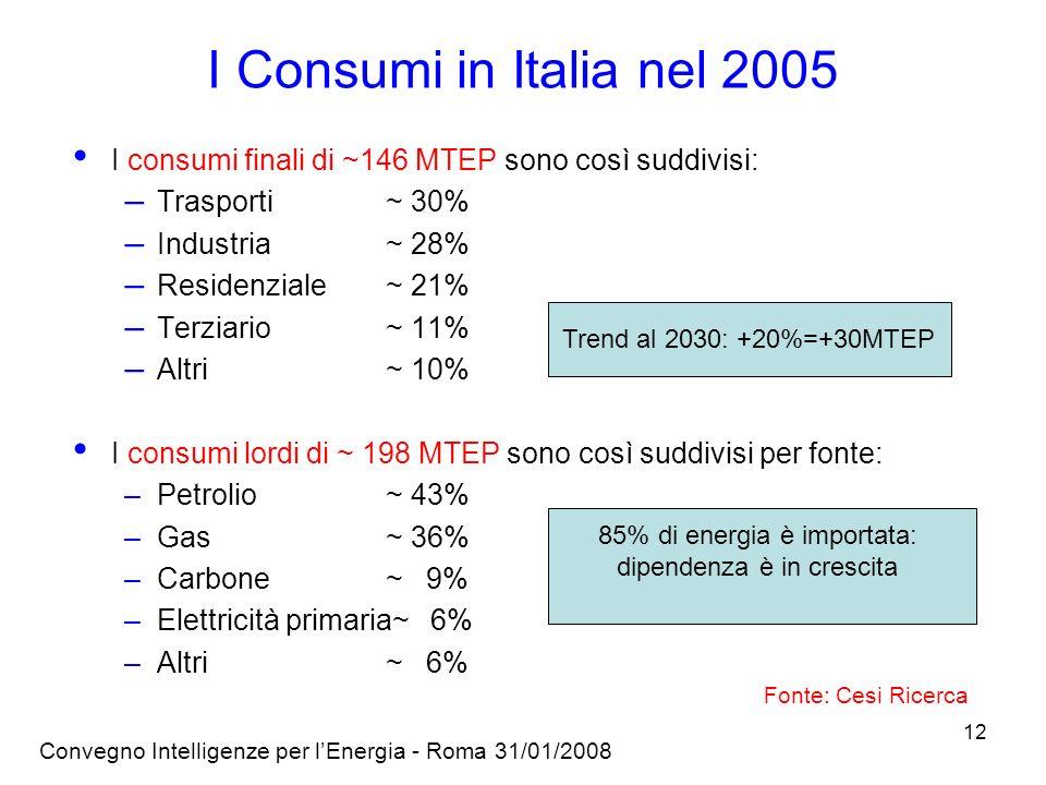 I Consumi in Italia nel 2005 I consumi finali di ~146 MTEP sono così suddivisi: Trasporti ~ 30% Industria ~ 28%