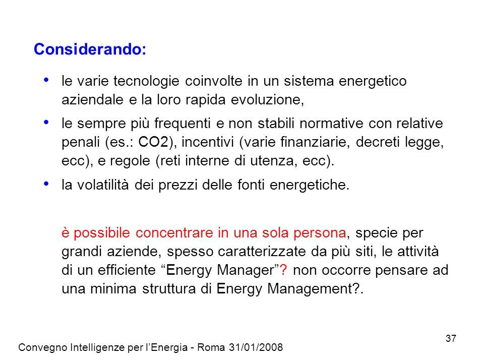 Considerando: le varie tecnologie coinvolte in un sistema energetico aziendale e la loro rapida evoluzione,