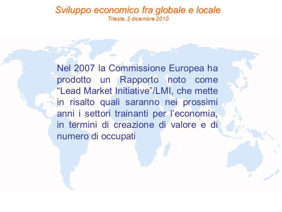 Nel 2007 la Commissione Europea ha prodotto un Rapporto noto come Lead Market Initiative /LMI, che mette in risalto quali saranno nei prossimi anni i settori trainanti per l'economia, in termini di creazione di valore e di numero di occupati