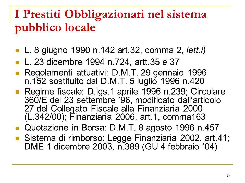 I Prestiti Obbligazionari nel sistema pubblico locale
