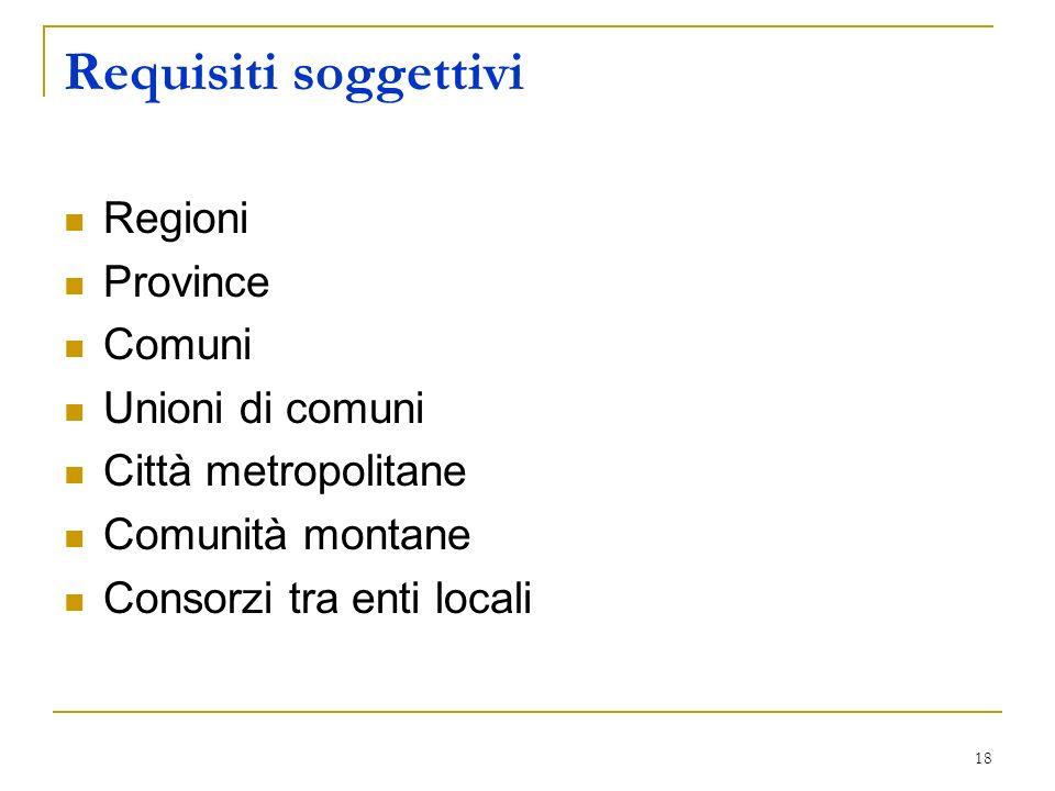 Requisiti soggettivi Regioni Province Comuni Unioni di comuni