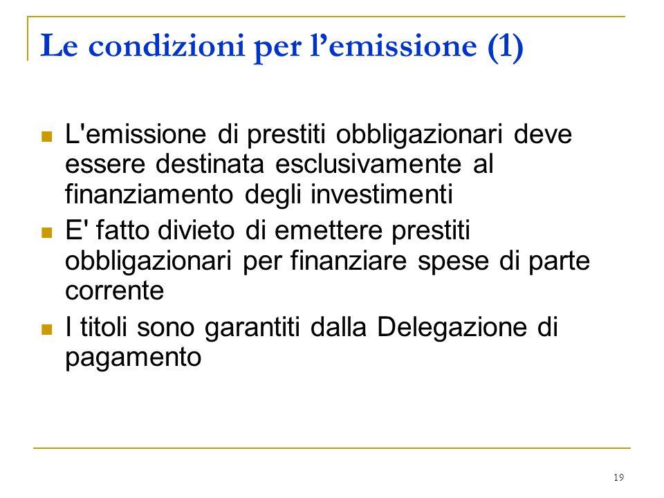 Le condizioni per l'emissione (1)