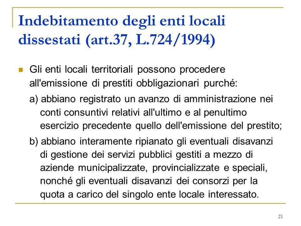 Indebitamento degli enti locali dissestati (art.37, L.724/1994)