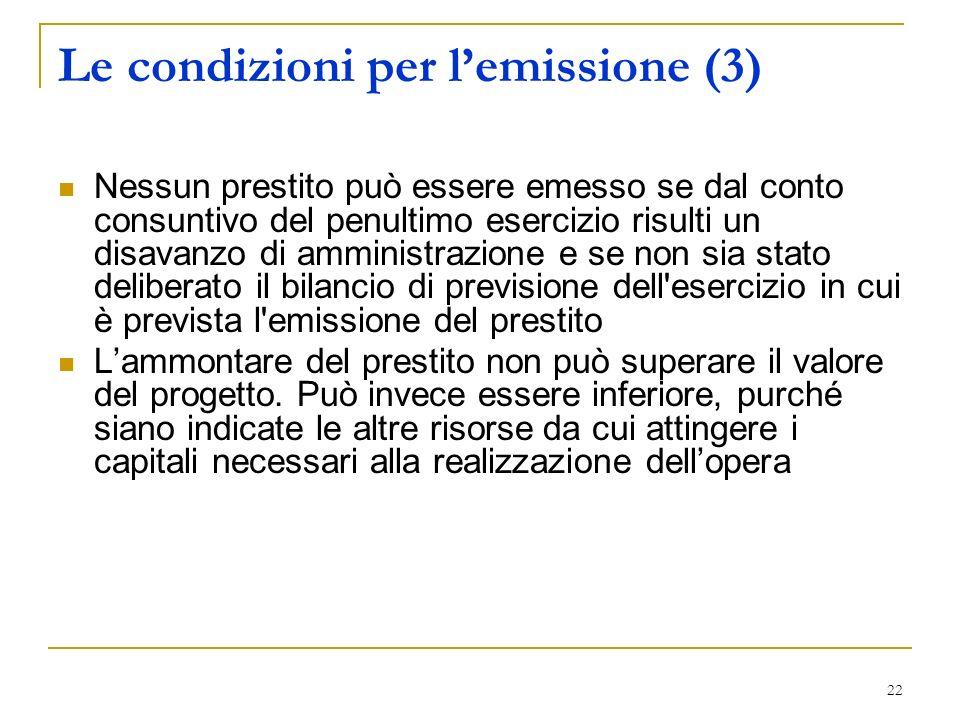 Le condizioni per l'emissione (3)