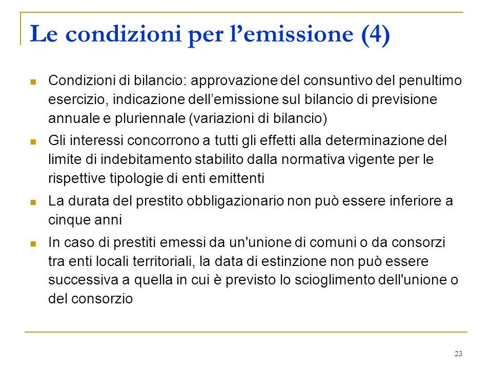 Le condizioni per l'emissione (4)