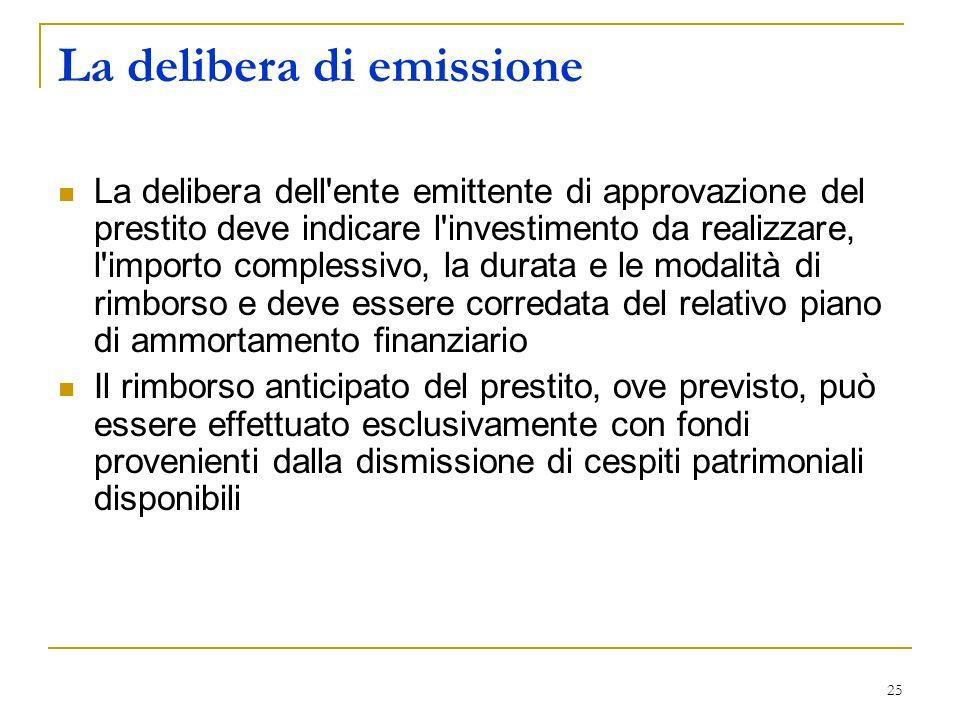 La delibera di emissione