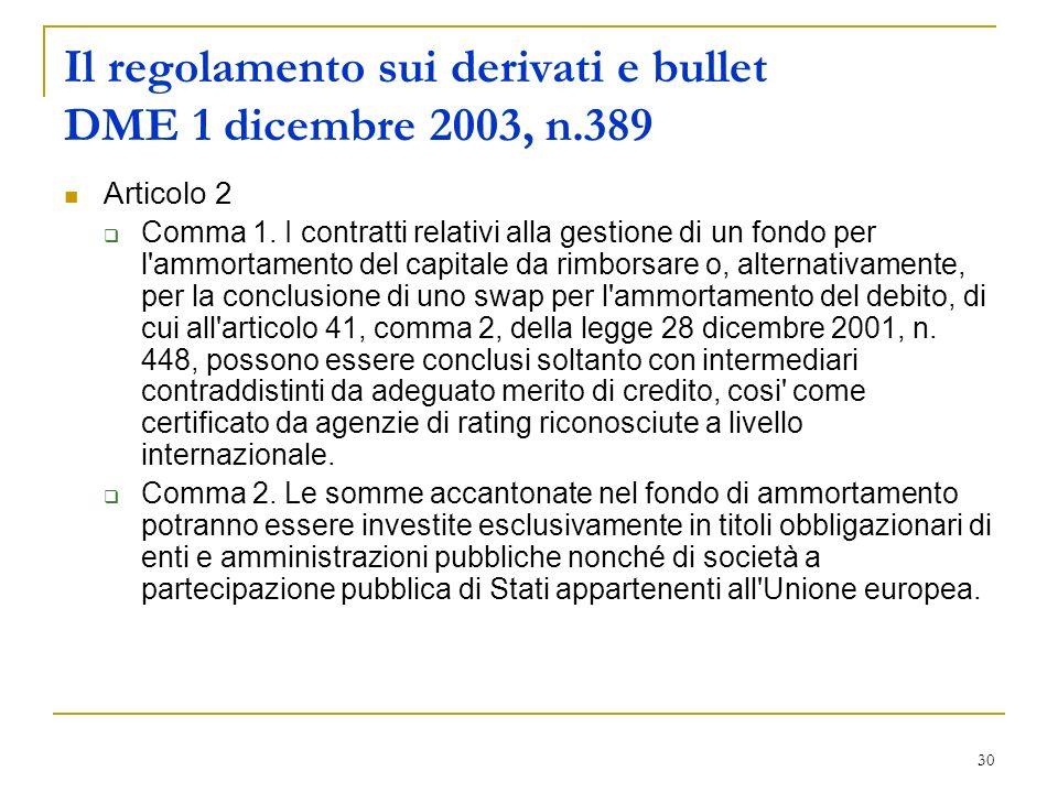 Il regolamento sui derivati e bullet DME 1 dicembre 2003, n.389