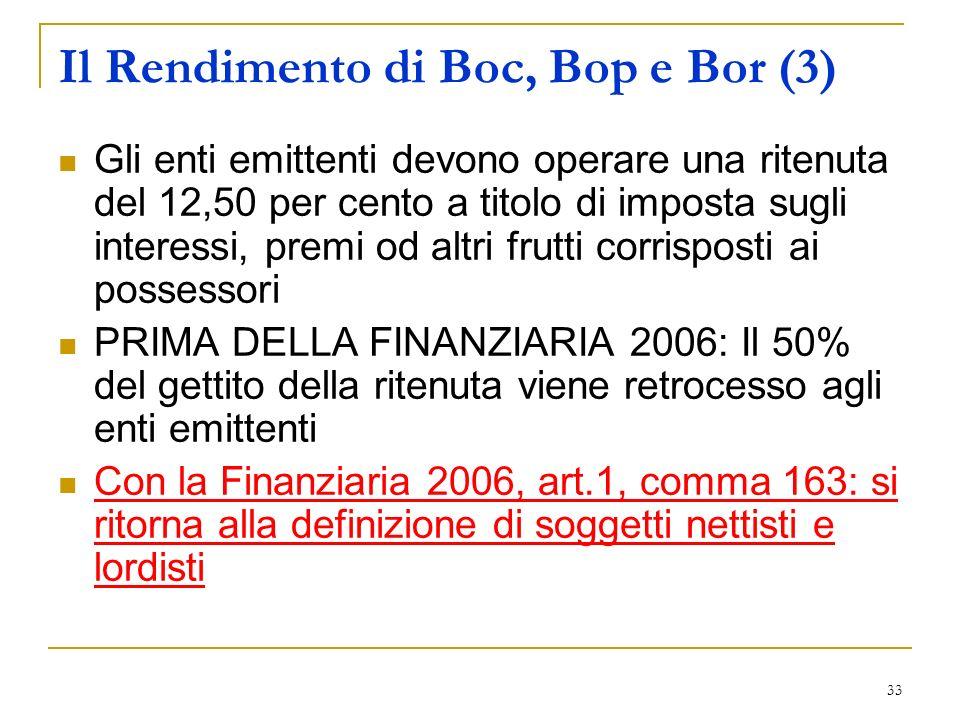 Il Rendimento di Boc, Bop e Bor (3)