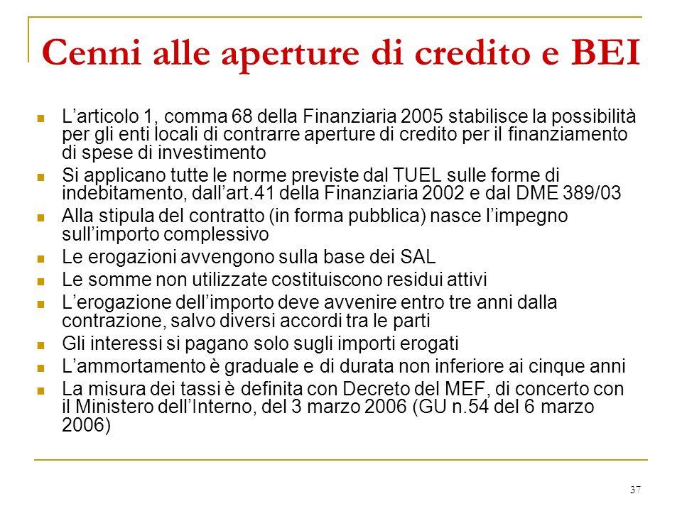 Cenni alle aperture di credito e BEI