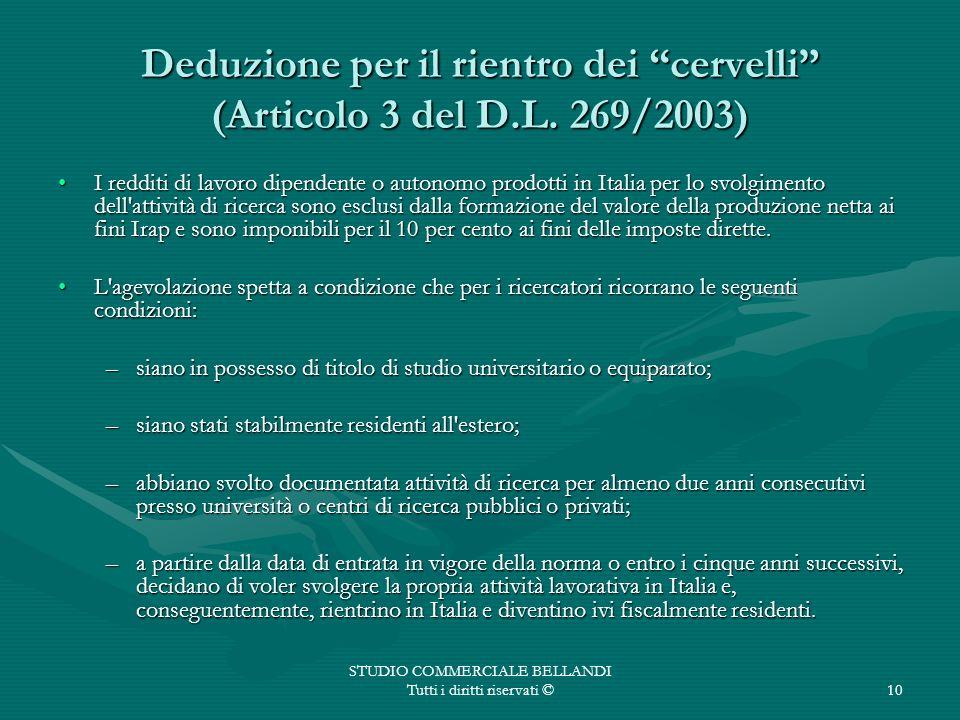 Deduzione per il rientro dei cervelli (Articolo 3 del D.L. 269/2003)