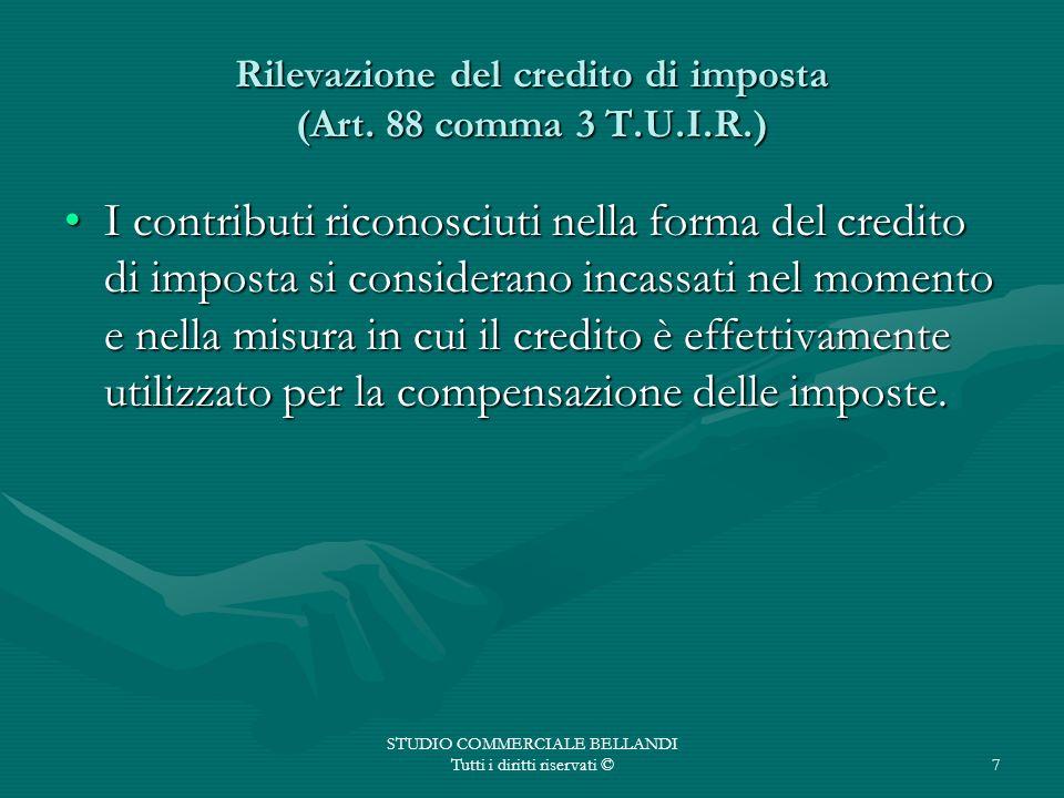Rilevazione del credito di imposta (Art. 88 comma 3 T.U.I.R.)