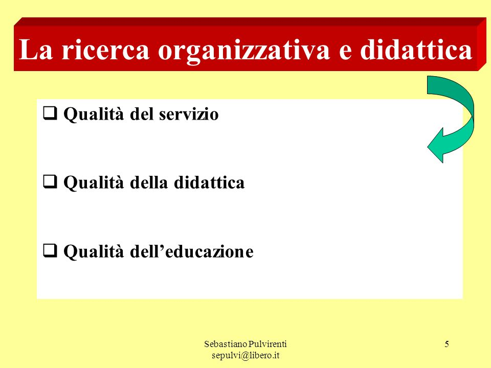 La ricerca organizzativa e didattica