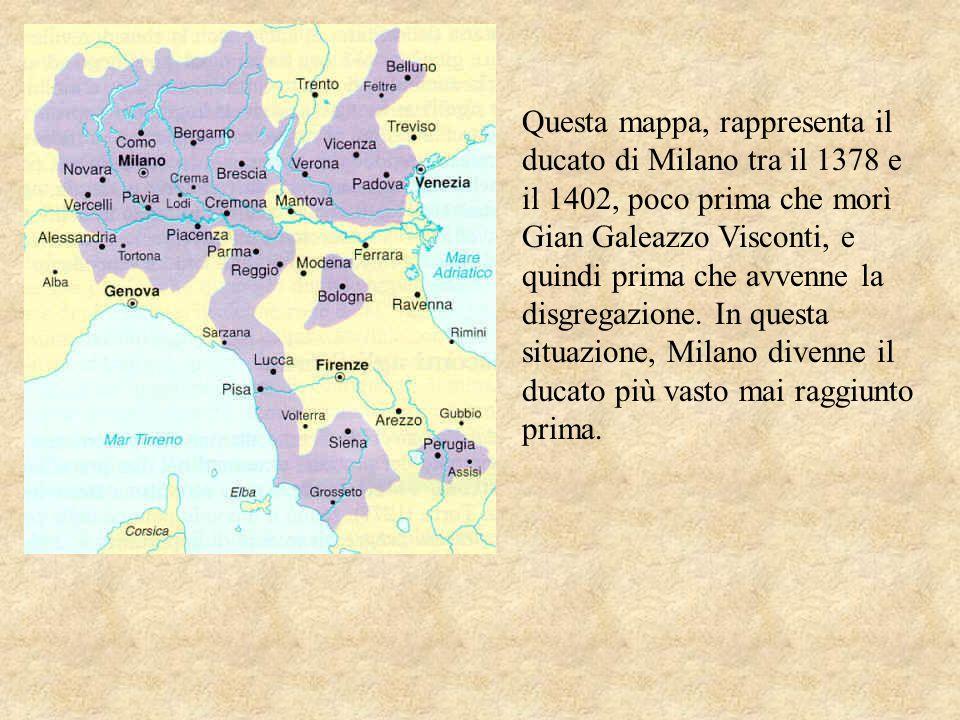 Questa mappa, rappresenta il ducato di Milano tra il 1378 e il 1402, poco prima che morì Gian Galeazzo Visconti, e quindi prima che avvenne la disgregazione.