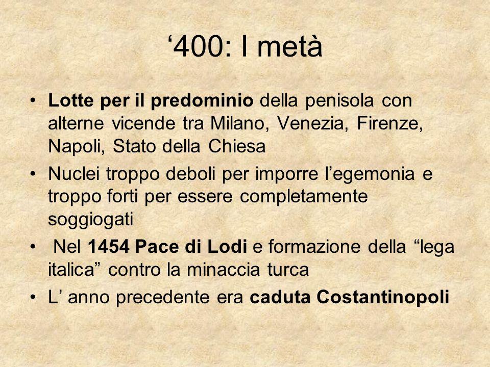 '400: I metà Lotte per il predominio della penisola con alterne vicende tra Milano, Venezia, Firenze, Napoli, Stato della Chiesa.