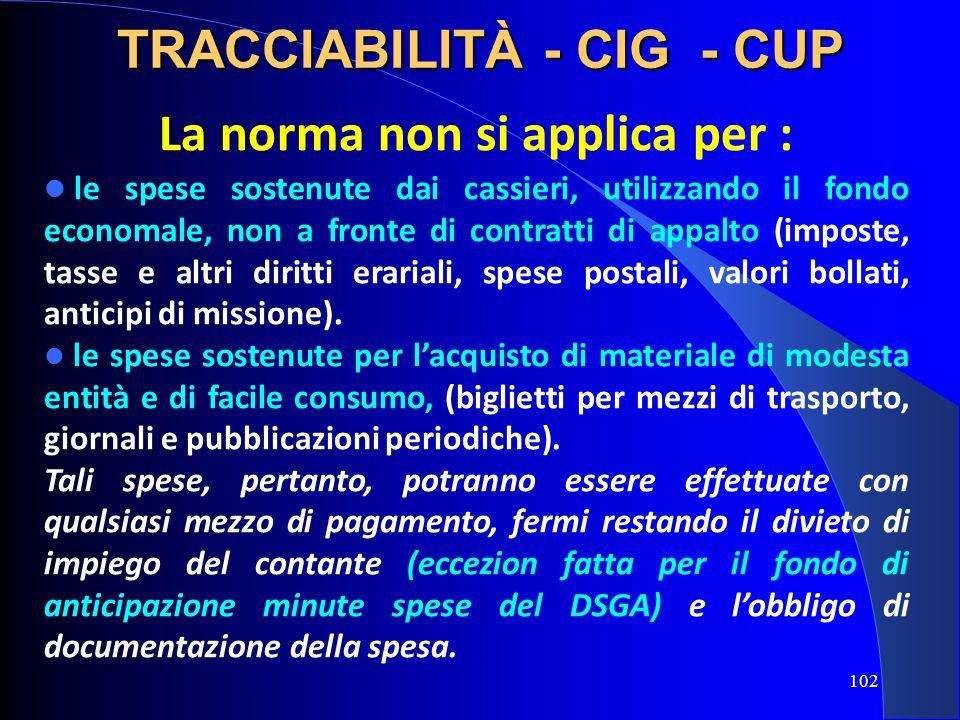 TRACCIABILITÀ - CIG - CUP La norma non si applica per :