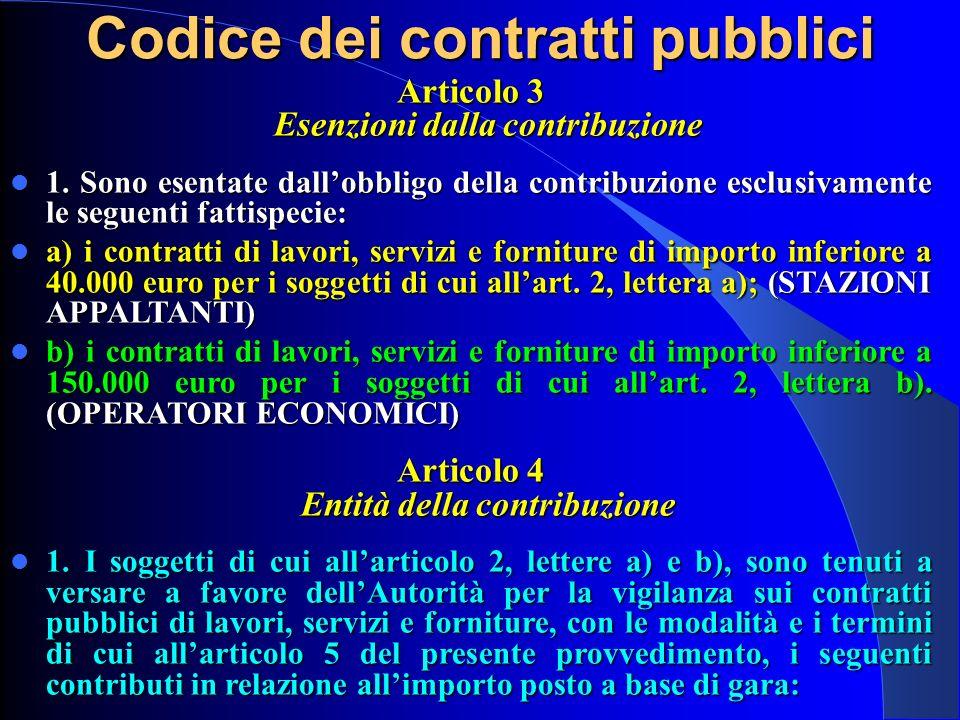 Codice dei contratti pubblici Articolo 3 Esenzioni dalla contribuzione
