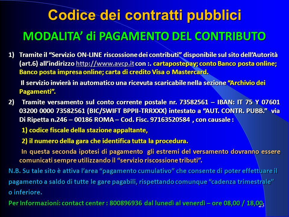 Codice dei contratti pubblici MODALITA' di PAGAMENTO DEL CONTRIBUTO