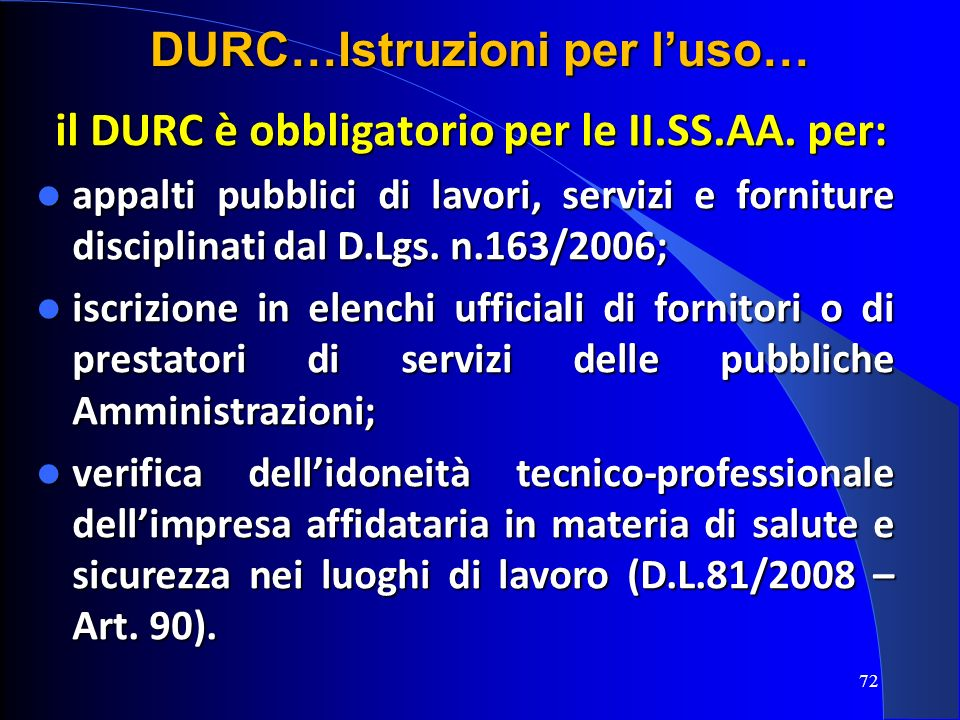 DURC…Istruzioni per l'uso…