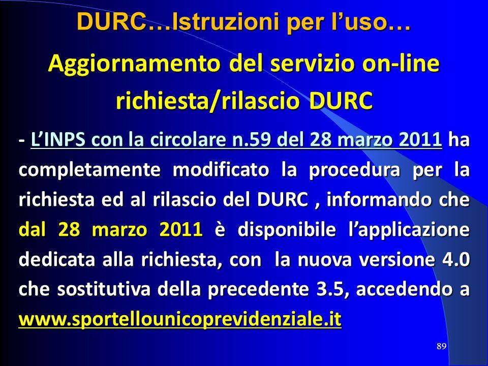 Aggiornamento del servizio on-line richiesta/rilascio DURC
