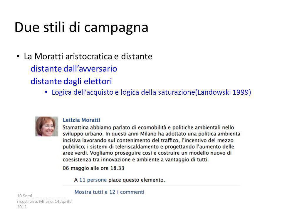 Due stili di campagna La Moratti aristocratica e distante