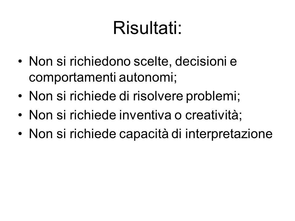 Risultati:Non si richiedono scelte, decisioni e comportamenti autonomi; Non si richiede di risolvere problemi;