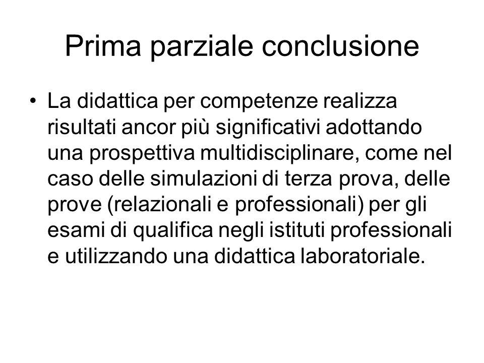 Prima parziale conclusione