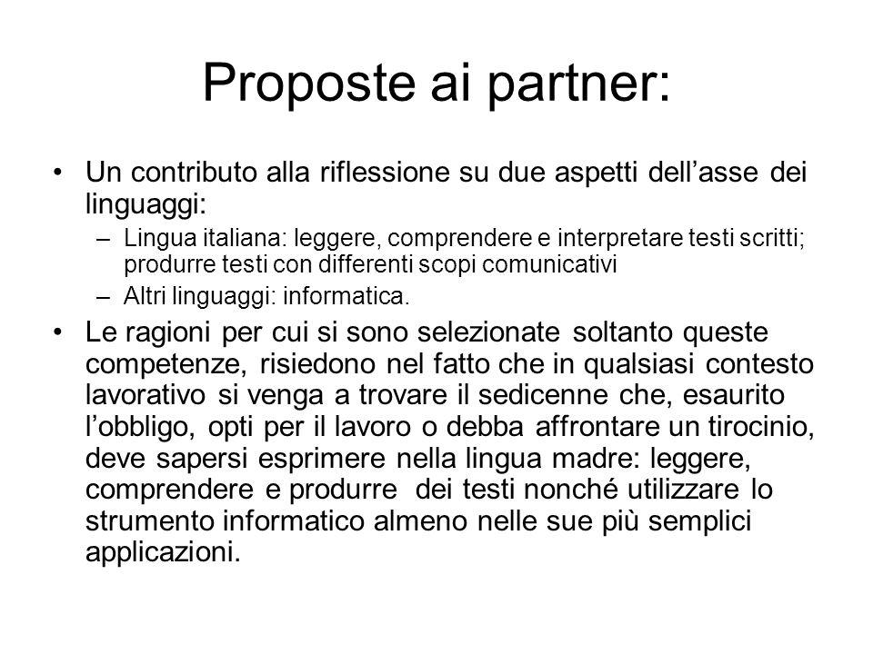Proposte ai partner:Un contributo alla riflessione su due aspetti dell'asse dei linguaggi: