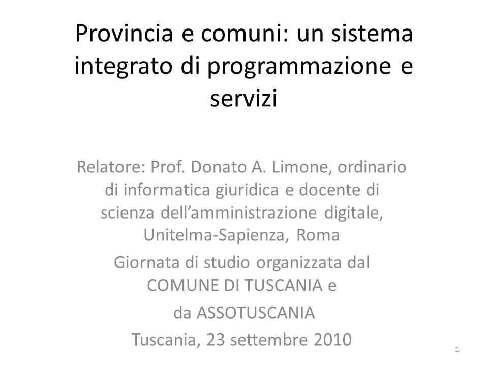 Provincia e comuni: un sistema integrato di programmazione e servizi