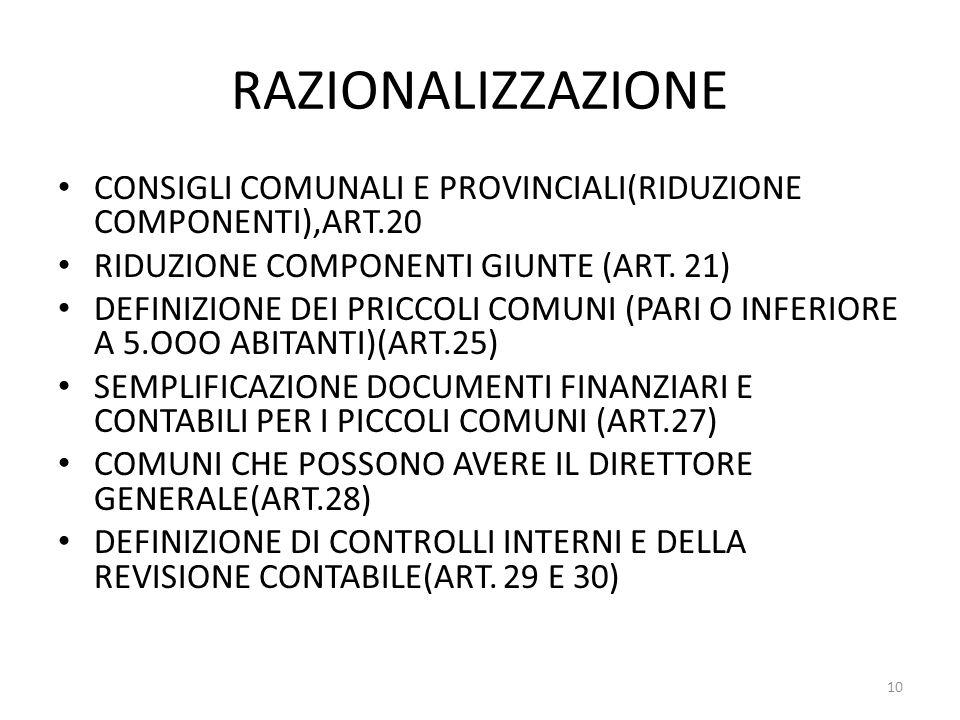 RAZIONALIZZAZIONE CONSIGLI COMUNALI E PROVINCIALI(RIDUZIONE COMPONENTI),ART.20. RIDUZIONE COMPONENTI GIUNTE (ART. 21)