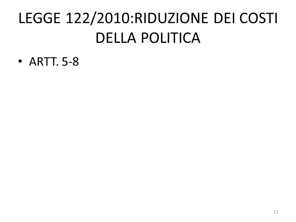 LEGGE 122/2010:RIDUZIONE DEI COSTI DELLA POLITICA