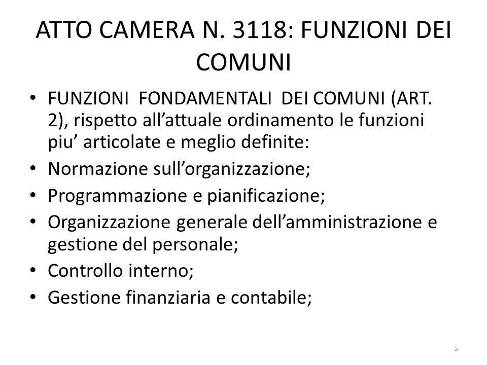 ATTO CAMERA N. 3118: FUNZIONI DEI COMUNI