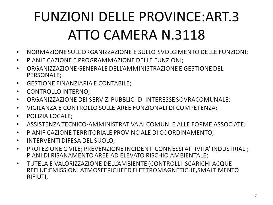 FUNZIONI DELLE PROVINCE:ART.3 ATTO CAMERA N.3118
