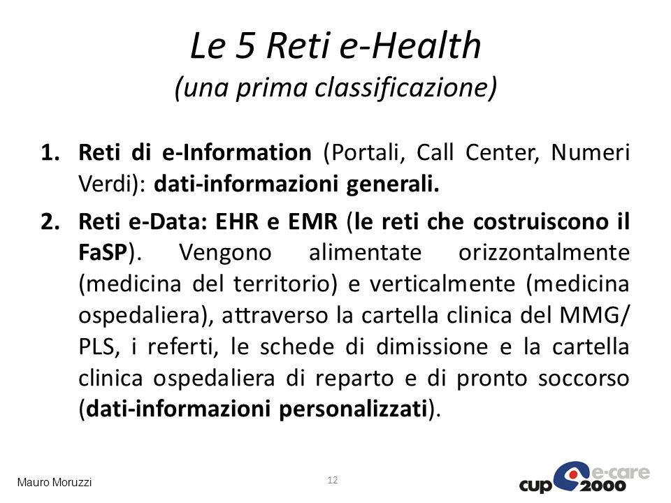 Le 5 Reti e-Health (una prima classificazione)