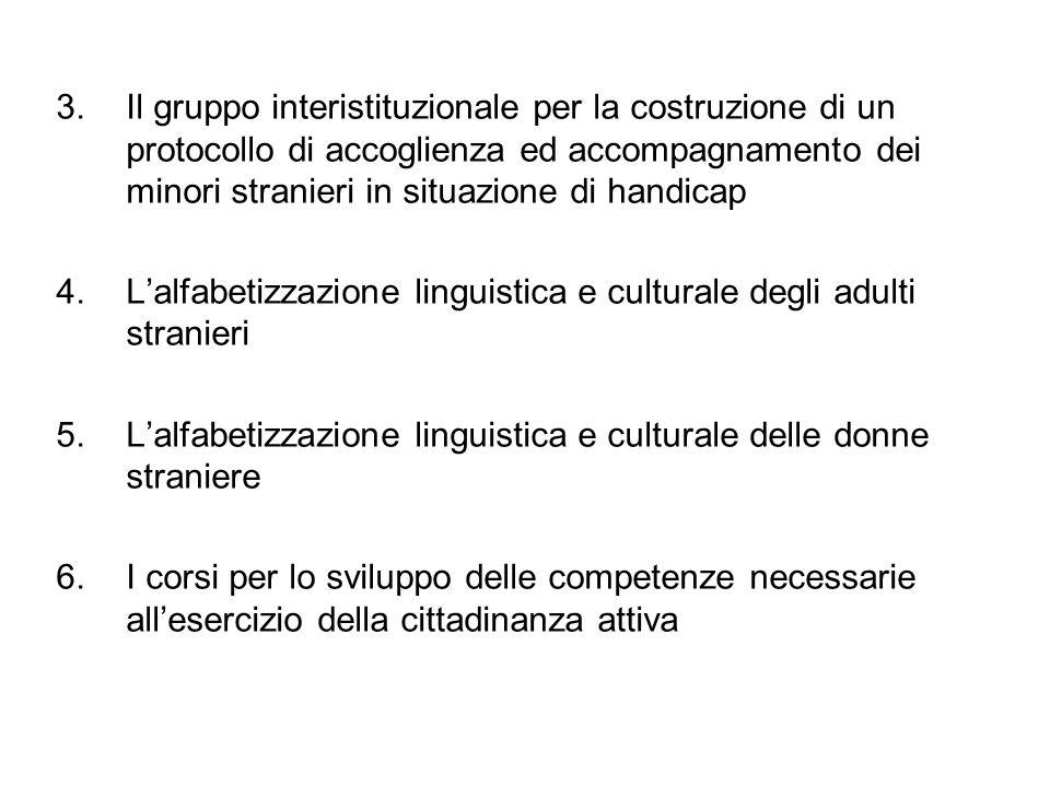 3. Il gruppo interistituzionale per la costruzione di un protocollo di accoglienza ed accompagnamento dei minori stranieri in situazione di handicap