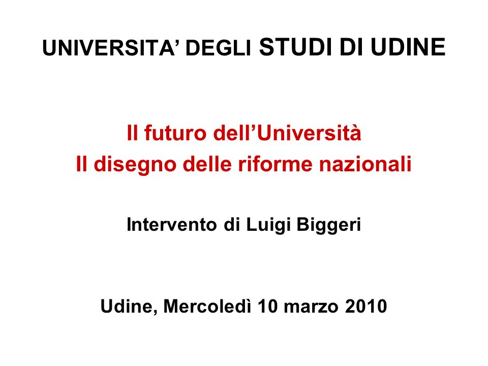 UNIVERSITA' DEGLI STUDI DI UDINE