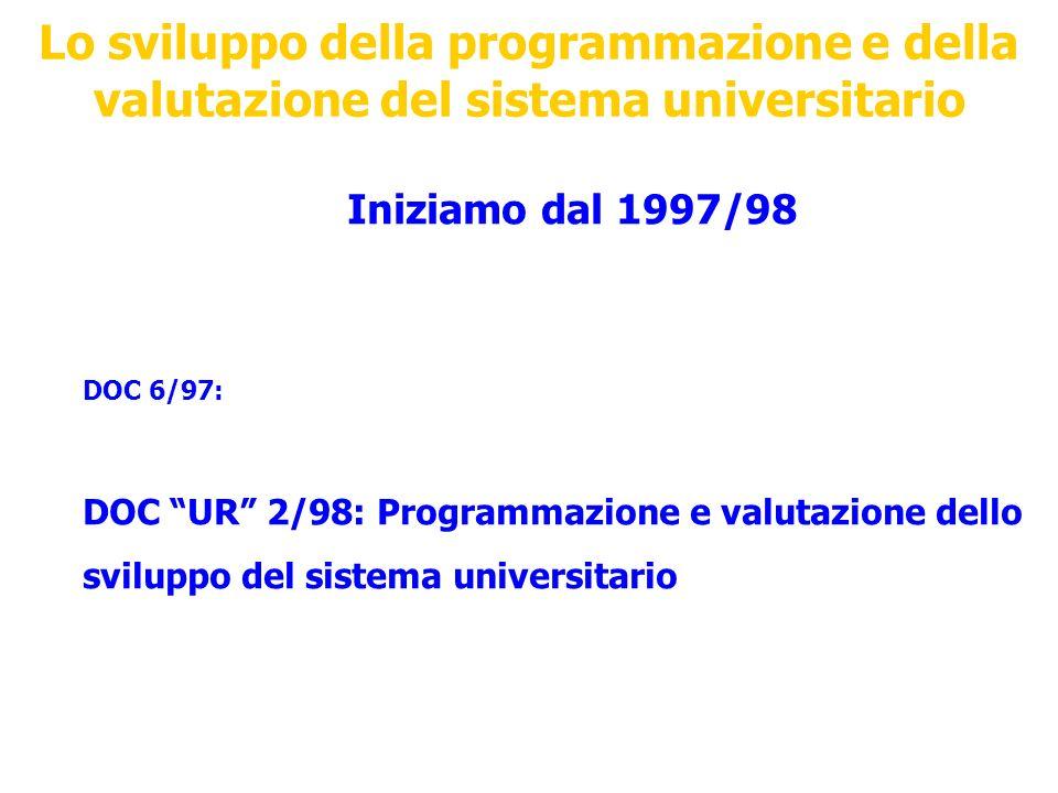 Lo sviluppo della programmazione e della valutazione del sistema universitario