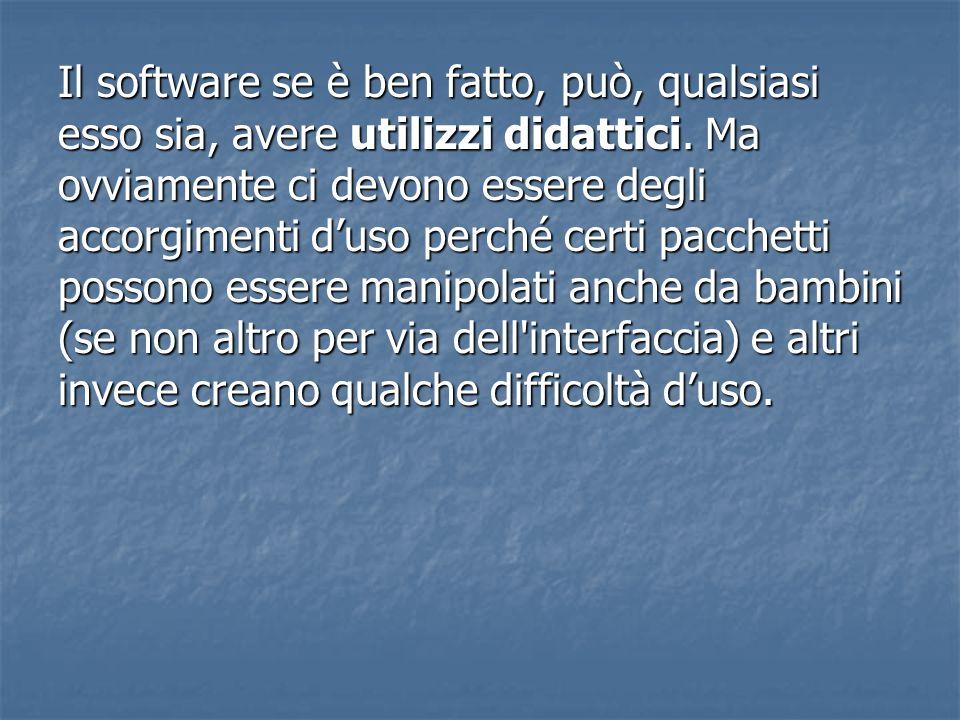 Il software se è ben fatto, può, qualsiasi esso sia, avere utilizzi didattici.