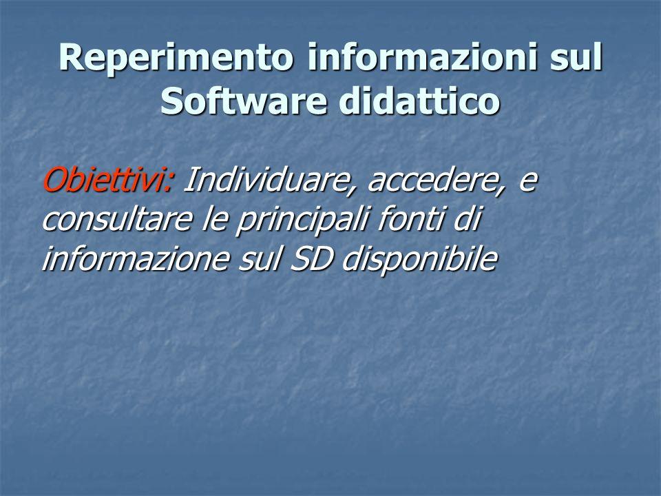 Reperimento informazioni sul Software didattico