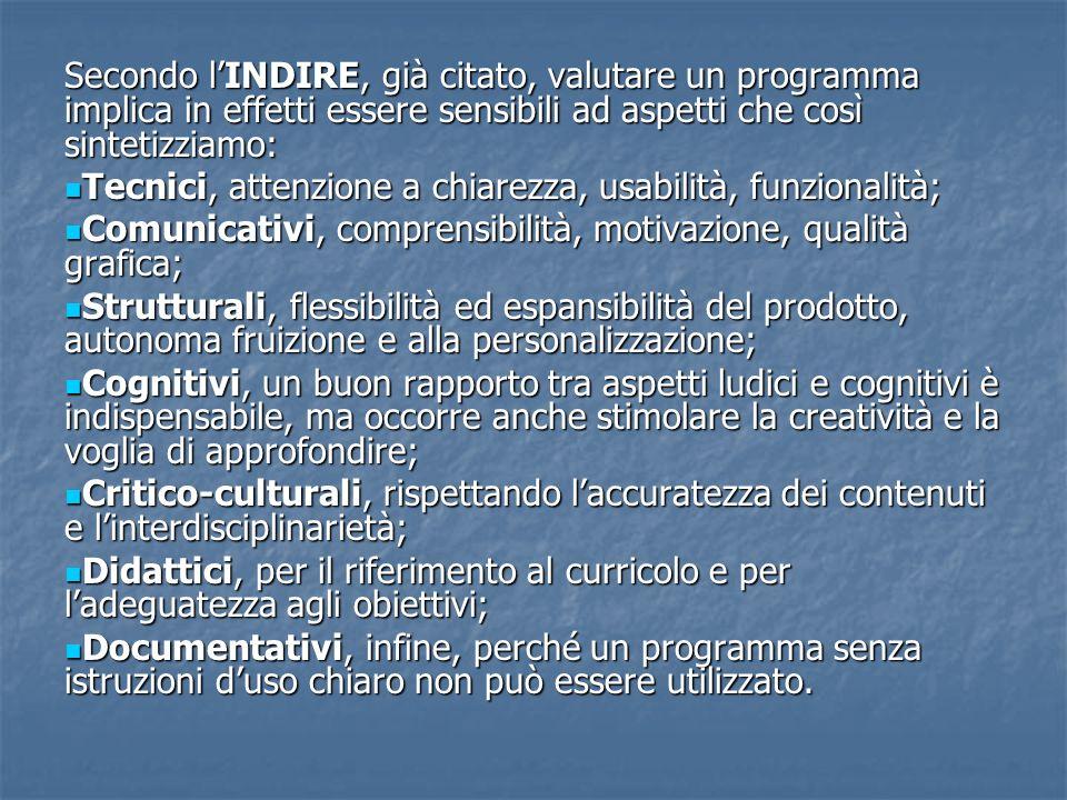 Secondo l'INDIRE, già citato, valutare un programma implica in effetti essere sensibili ad aspetti che così sintetizziamo: