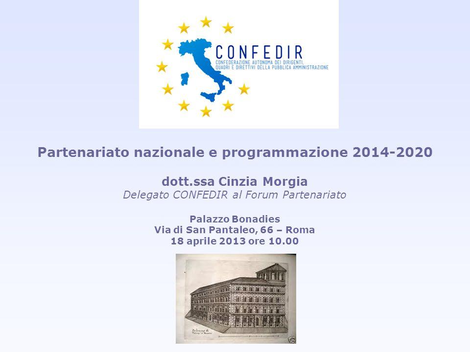 Partenariato nazionale e programmazione 2014-2020