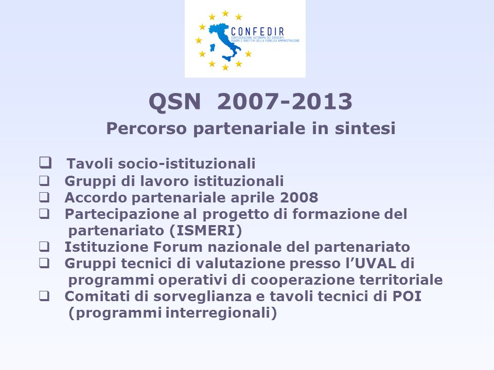 Percorso partenariale in sintesi