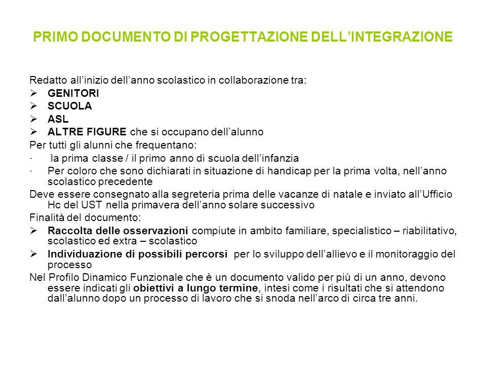 PRIMO DOCUMENTO DI PROGETTAZIONE DELL'INTEGRAZIONE