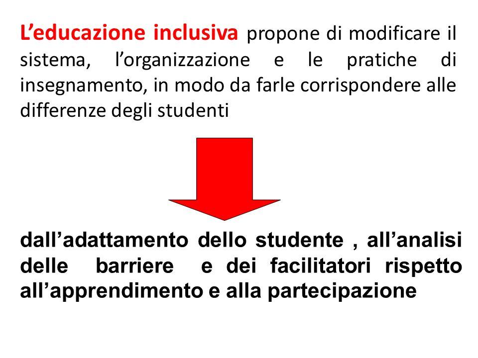 L'educazione inclusiva propone di modificare il sistema, l'organizzazione e le pratiche di insegnamento, in modo da farle corrispondere alle differenze degli studenti