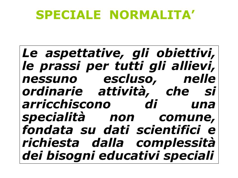 SPECIALE NORMALITA'
