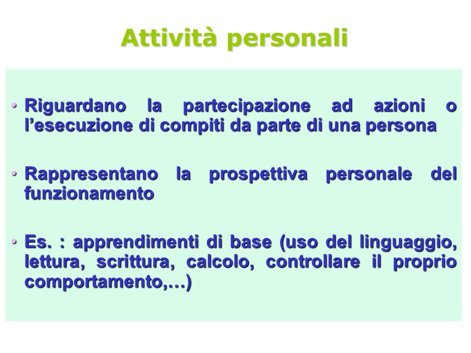 Attività personali Riguardano la partecipazione ad azioni o l'esecuzione di compiti da parte di una persona.